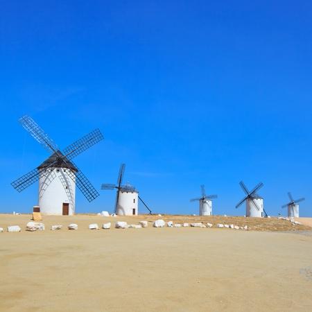 don quixote: Cinco Cervantes de Don Quijote los molinos de viento cerca de Alc�zar de San Juan, Castilla - La Mancha, Espa�a