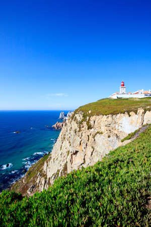 cabo: Cabo de Roca, Portugal is the westernmost extent of continental europe. The lighthouse overlooking Atlantic Ocean. Stock Photo