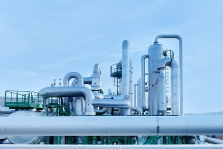 Geothermal energy. Industrial pipes details of a power station. Tuscany, Italy. Stock Photo