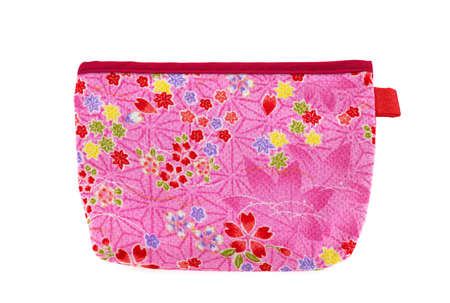 Pink and red flower pocket bag with yellow and green leaves and red hearts photo