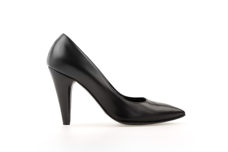 foot fetish: High heel pump black shiny leather women shoe. Side view isolated on white. Stock Photo