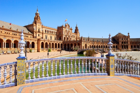 andalucia: Plaza de espana  spain square  Seville, Andalusia, Spain, Europe  Traditional bridge detail