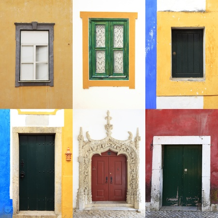 Six colorful windows and doors in  portugal. A collection of traditional and old portuguese urban walls Stock Photo - 12822670