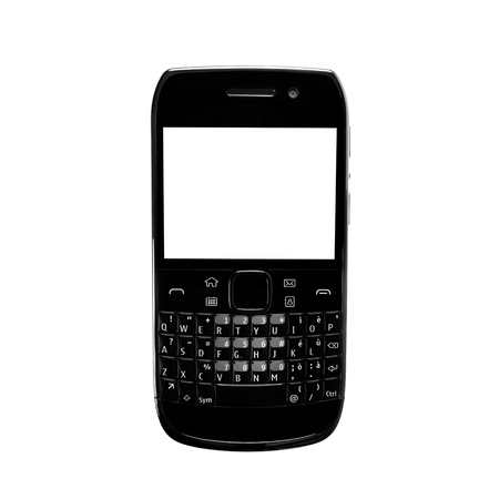 qwerty: Black smartphone with white screen and qwerty keypad isolated on white background  Stock Photo