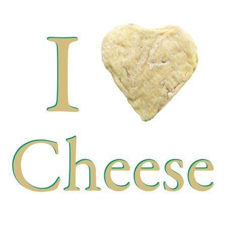 goat cheese: I Love Cheese wallpaper with a goat heart shaped isolated on white background Stock Photo