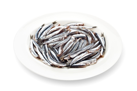 Fresh anchovies prepared seafood without head dishware with its shadow on white background  photo
