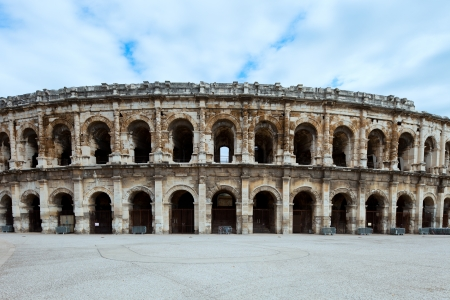 arenas: Nimes ancient Arenas, historic Roman amphitheater, Provence, Southern France, Europe