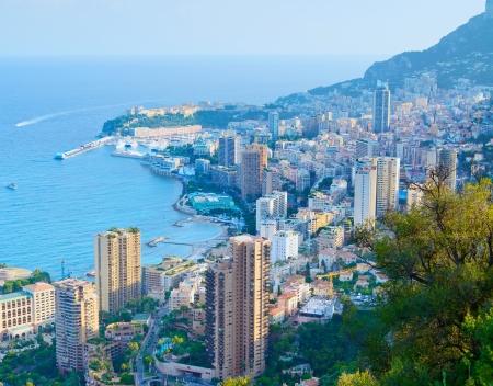 carlo: Monaco Monte carlo principality aerial view cityscape on sunset