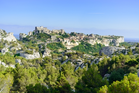 Les Baux de Provence village on the rock formation and its castle  France, Europe  Stock Photo