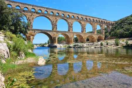 heritage site: Roman aqueduct Pont du Gard, near Nimes, Languedoc, France, Europe  Unesco World Heritage site  Stock Photo