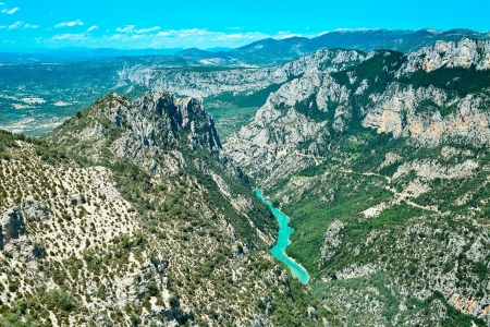 gorge: Gorges du Verdon european canyon and river aerial view. Alps, Provence, France.