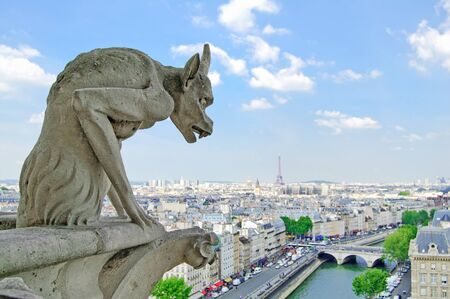 Gargoyle Statue in Notre Dame Cathedral and Paris aerial cityscape with Eiffel Tower on background  Paris, France photo