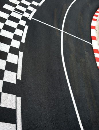 race track: Car race asphalt and curb on Monaco Montecarlo Grand Prix street circuit Stock Photo