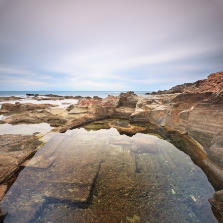 Le Vaschette water pool and rocks, coastal landscape near Livorno  Long exposure photography, Italy, Europe Stock Photo - 14960770