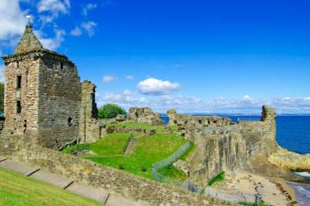 andrews: St Andrews Castle ruins medieval landmark  Fife, Scotland, United Kingdom, Europe