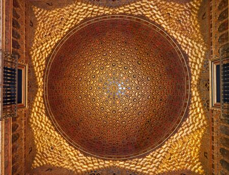 Golden Dome medieval architecture, Ambassadors room Real Alcazar, Seville, Andalusia, Spain, Europe