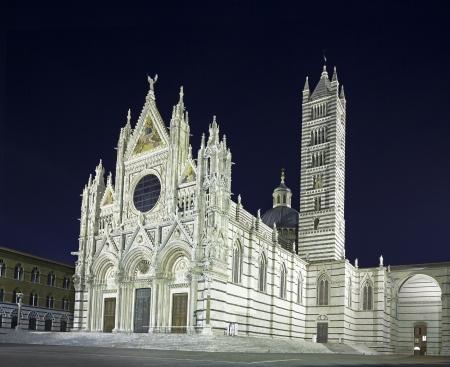 siena: Siena Cathedral landmark as known as Duomo, night photography  Tuscany, Italy, Europe