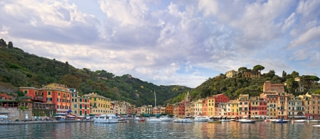 Portofino luxury landmark panorama  Village and yacht in little bay harbor  Liguria, Italy photo