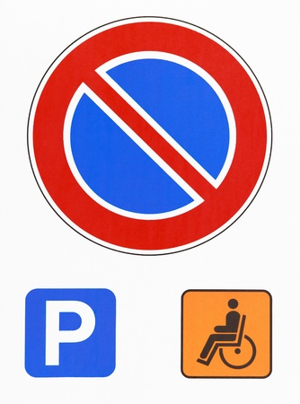 handicap sign: No parking road sign photography  Reserved for disabled drivers