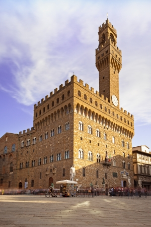 signoria square: Palazzo Vecchio and Signoria square landmark in Florence, Tuscany, Italy  Long exposure blurred motion photography