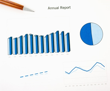 Annual report chart histogram, lines and area  Ink color print paper and a wooden pen  Monthly stats  Stock Photo - 16062365