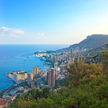 Monaco Montecarlo principality aerial view cityscape on sunset  Skyscrapers, coastline, port and old city  Azure coast  France, Europe  photo