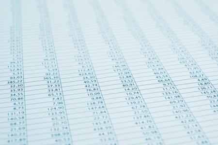 hoja de calculo: Los datos profesionales reportar enfoque selectivo cerca stock Mensual hoja de cálculo estadísticas Azul tonificado
