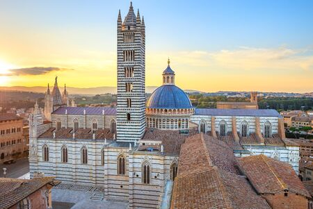 siena: Siena aerial sunset panoramic view  Cathedral Duomo landmark  Tuscany, Italy