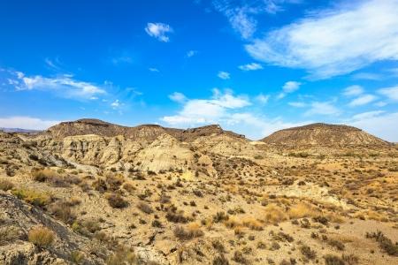 sergio: Tabernas desert mountains, in spanish Desierto de Tabernas  Europe only desert  Almeria, andalusia region, Spain  Protected wilderness area  Stock Photo