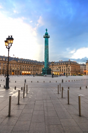 the place is outdoor: Paris, Vendome Square landmark, Place Vendome in French, on sunset light  France, Europe