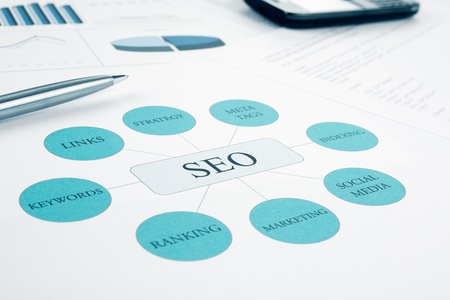 Seo business, search engine optimazion, concept flow chart  Pen and smartphone on background  Blue Toned Stock Photo - 16682473