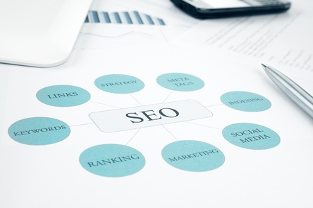 Seo business, search engine optimazion, concept flow chart  Pen, tablet touchped and smartphone on background  Blue Toned Stock Photo - 16729318