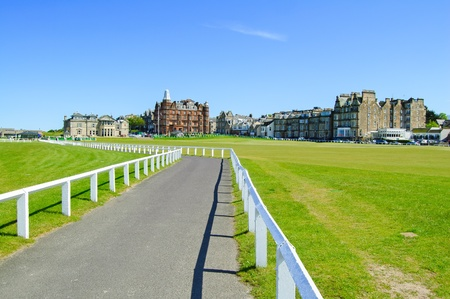 andrews: Golf St Andrews old course links, fairway and footpath on Hole 18  Fife, Scotland, Uk, Europe  Stock Photo
