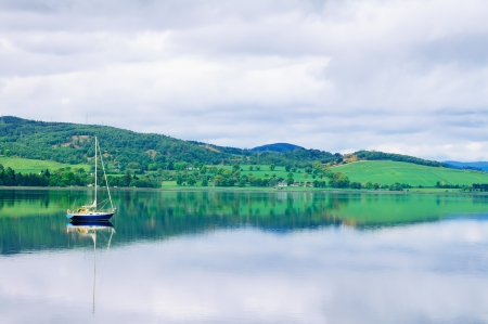 ness: Sailing Boat in Moray Firth near Loch and River ness  Landscape in Inverness Highlands of Scotland, Uk, Europe