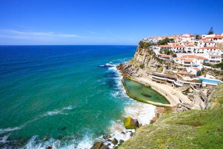 Azenhas do Mar white village landmark on the cliff and Atlantic ocean, Sintra, Lisbon,  Portugal, Europe  Stock Photo