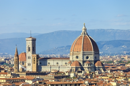 campanile: Florence, Duomo Cathedral, Basilica Santa Maria del Fiore landmark and Giotto Campanile Panorama view from Michelangelo park square   Italy, Europe  Stock Photo