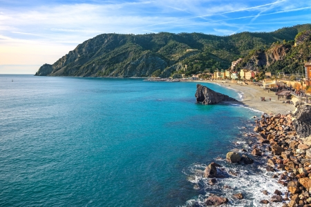Monterosso beach, sea bay and rocks landscape  Five lands, 5 terre, Ligury Italy Stock Photo - 17102405