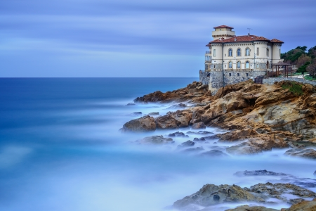 Boccale castle landmark on cliff rock and sea in winter  Tuscany, Italy, Europe Stock Photo - 17146638