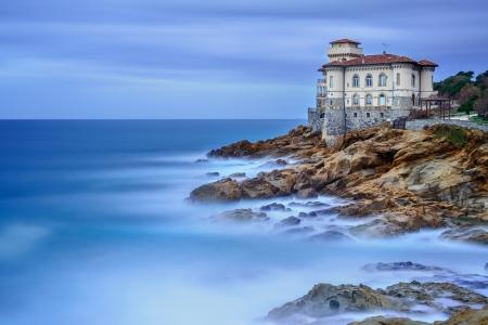 italian sea: Boccale castle landmark on cliff rock and sea in winter  Tuscany, Italy, Europe
