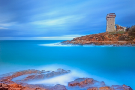 Calafuria Tower landmark on cliff rock and sea in winter  Tuscany, Italy, Europe Stock Photo - 17249023