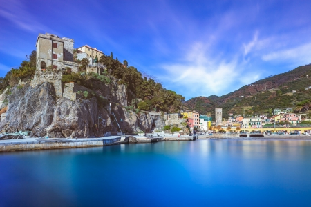 monterosso: Monterosso al Mare fisherman village, harbor, rocks and sea bay landscape  Five lands, Cinque Terre, Liguria Italy Europe  Long Exposure Photography Stock Photo