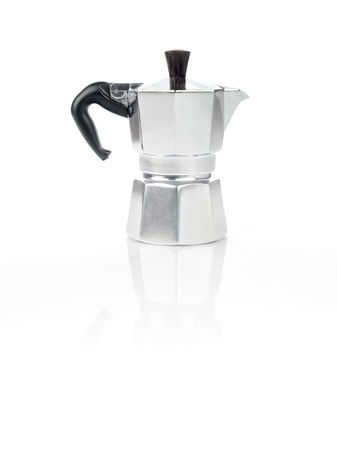 Moka Pot, also known as stove top espresso machine italian coffee maker on white background and reflection photo