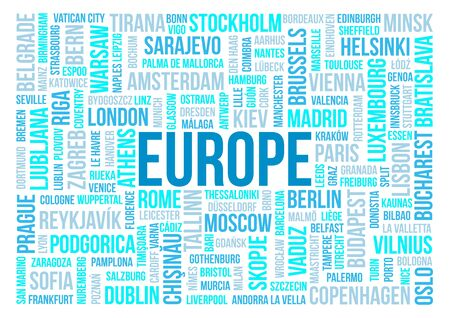 Europe, national capitals of countries and other cities words text cloud background photo