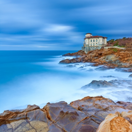 Boccale castle landmark on cliff rock and sea in winter  Tuscany, Italy, Europe