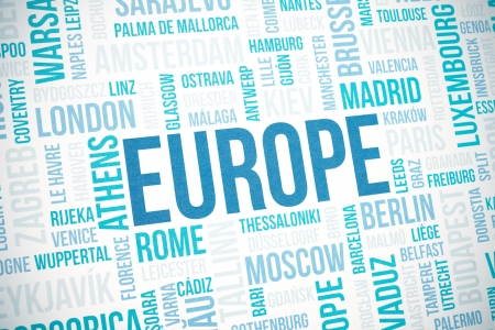 Europe cloud concept print, national capitals of countries and other cities words text background, blue toned and vignette added photo