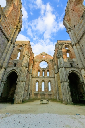 gothic church: Saint or San Galgano medieval uncovered Abbey Church ruins  Tuscany, Italy