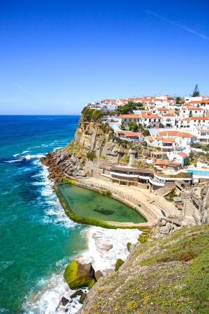 lisbon: Azenhas do Mar white village landmark on the cliff and Atlantic ocean, Sintra, Lisbon,  Portugal, Europe  Stock Photo