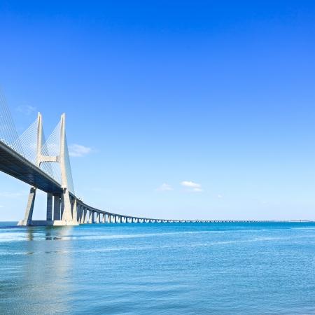 Vasco da Gama bridge on Tagus River in Lisbon, Portugal  It is the longest bridge in Europe