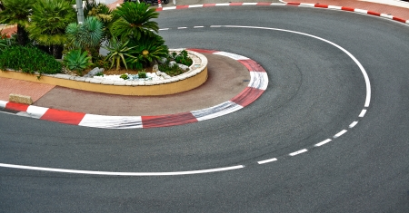monaco: Old Station hairpin bend motor race asphalt on Monaco Grand Prix street circuit