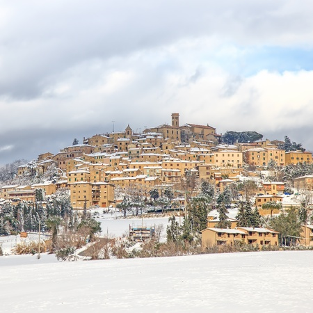 Tuscany, Casale Marittimo old rural village covered by snow in winter  Maremma, Italy, Europe Stock Photo - 17676984